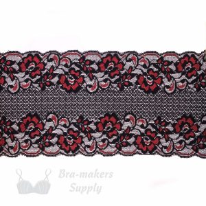 black and red stretch lace 5ins