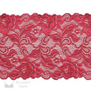 red stretch lace rose design