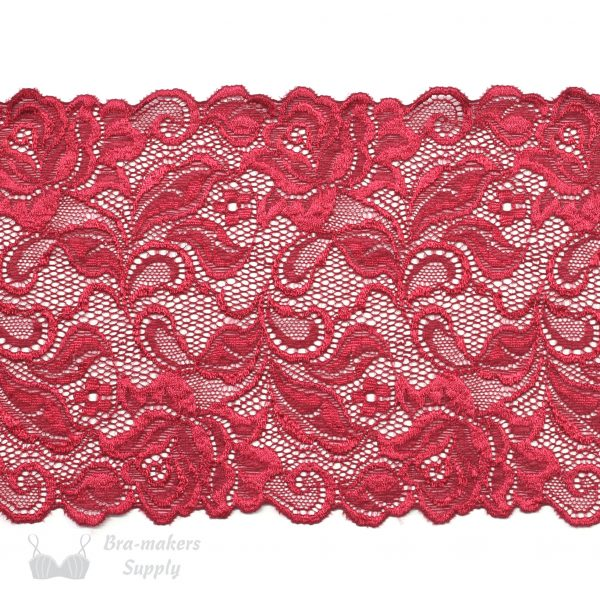 red stretch lace rose design