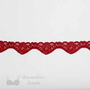 red stretch lace edging 1in