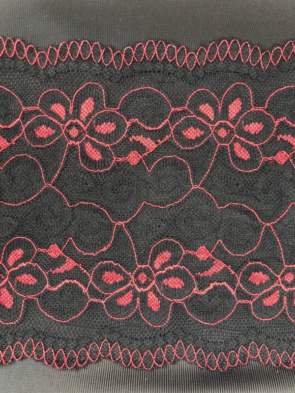 fabric anbd lace trio black with black and red lace