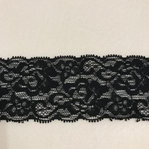 black stretch lace edging 2.5ins