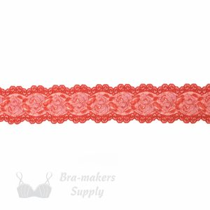 coral & pink stretch lace edging