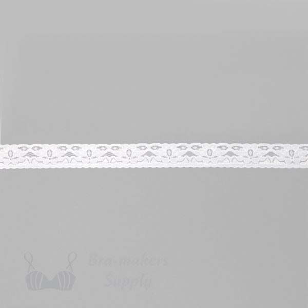 white floral stretch lace edging